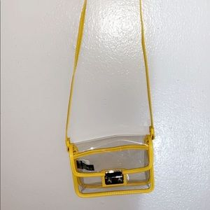 NWOT Express Yellow Trim Clear Event Bag